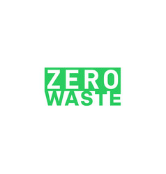 Zero waste green rectagle title eco label green vector