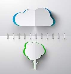 Paper Cut Cloud and Tree on Notebook Background vector image vector image