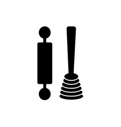 roller and whisk icon black vector image