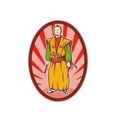 Samurai warrior with katana sword and fan vector image vector image