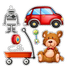 Sticker set of different toys vector image vector image
