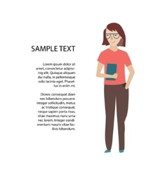 Woman holding book or tablet sketch vector image vector image
