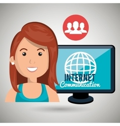 woman internet connected global vector image