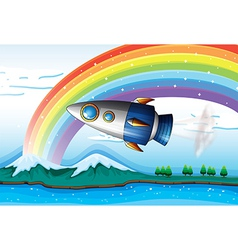 A spaceship near the rainbow above the ocean vector image vector image