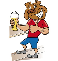 bulldog man with glass of beer cartoon vector image