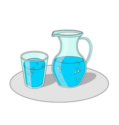 glass and carafe with water vector image vector image