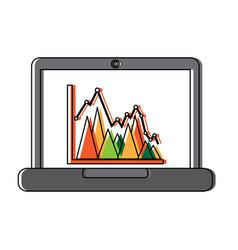 laptop computer screen financial business chart vector image vector image