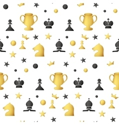 Seamless pattern of colored chess pieces on a vector image vector image
