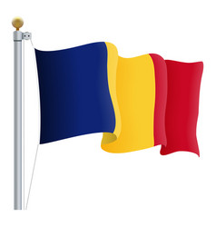 waving romania flag isolated on a white background vector image vector image