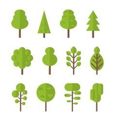 Collection set flat icons tree garden bush vector