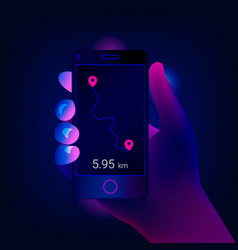 hand holds mobile smartphone app with track vector image