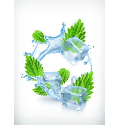 Mint with ice cubes and water splash icon vector image vector image