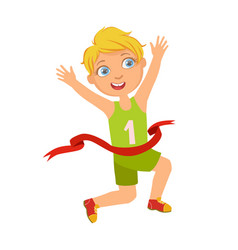 boy run to the finish line first a colorful vector image vector image