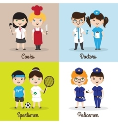 Cute cartoon kids in vector