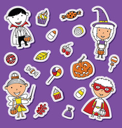halloween toddlers and candies sticker set vector image vector image