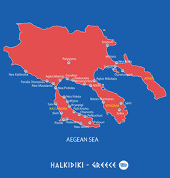 peninsula of halkidiki in greece red map vector image vector image