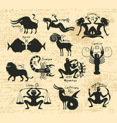 set of zodiac signs on the manuscript vector image
