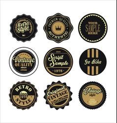 vintage labels black and brown set 2 vector image vector image