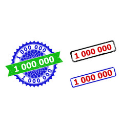 1 000 000 rosette and rectangle bicolor badges vector