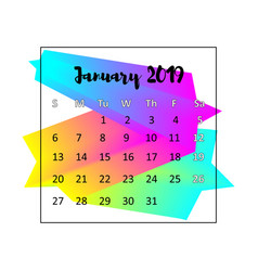 2019 calendar design concept january 2019 vector image
