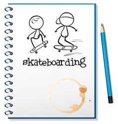 A notebook with two people skateboarding in the vector
