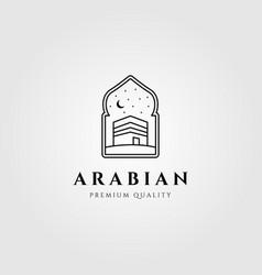 Arabian kaaba line art symbol logo vector