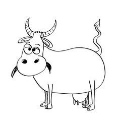 artistic drawing black and white of cow vector image