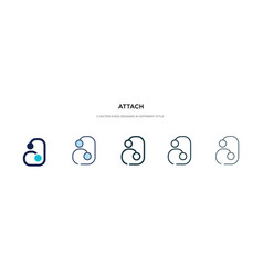 Attach icon in different style two colored and vector