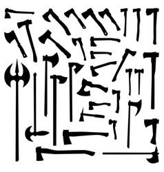 axes set silhouettes vector image