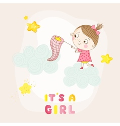 Baby girl catching stars on a cloud - shower vector
