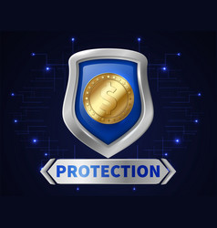 banking money protection golden coin in realistic vector image
