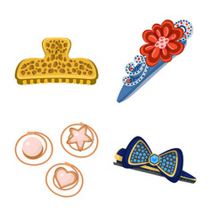 Barrette and hair icon set vector