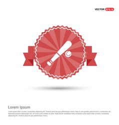 baseball and bat icon - red ribbon banner vector image