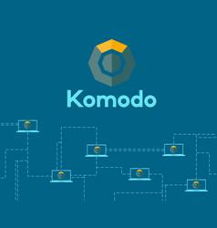 Blockchain technology komodo symbol background vector