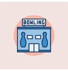 Bowling building flat icon vector