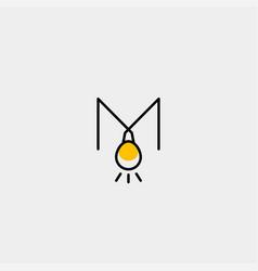 Bulb idea letter m logo template vector