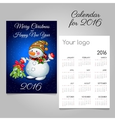 Calendar 2016 with fun snowman with bouquet vector image