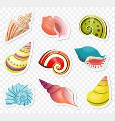 Cartoon sea shells stickers set vector