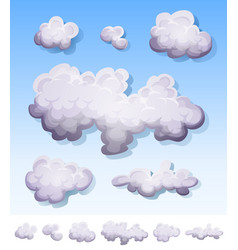 Cartoon smoke fog and clouds set vector