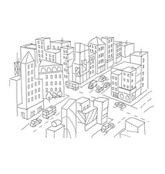 City street intersection sketch traffic road view vector