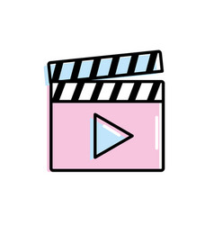 Clapperboard with video movie studio icon vector
