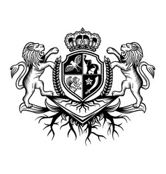 crest lion with crown logo vector image