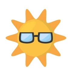 cute sun funny glasses hot vector image