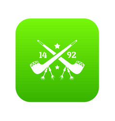 Discover america 1492 icon green vector
