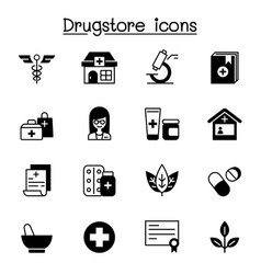 drugstore apothecary icons set graphic design vector image