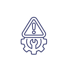 error warning line icon with a gear vector image