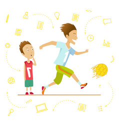 fast and little schoolboys school children sport vector image