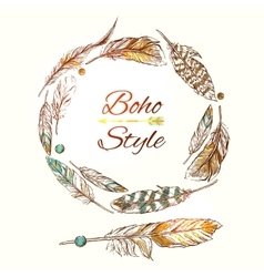 feathers boho style vector image