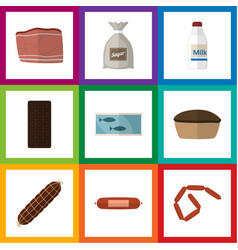 Flat icon meal set of kielbasa confection sack vector