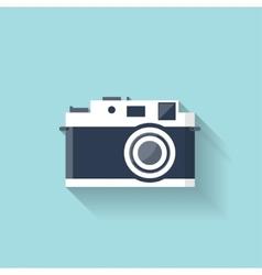 Flat retro photo camera web icon vector
